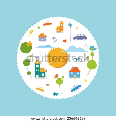 CIrcle city illustrations with cute vector elements building, birds, cars, sun.  - stock vector
