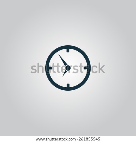 Circle Clock. Flat web icon, sign or button isolated on grey background. Collection modern trend concept design style vector illustration symbol - stock vector