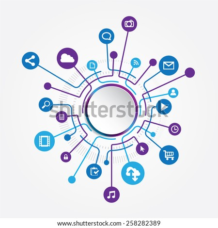 Circle connection Social icons. EPS10 file Included hig resolution jpg file.