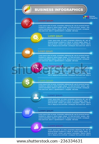 Circle 3D with Business Icon and Text Information, Colorful Glow Lines, Financial and Business Infographic, Icon and Text Information Design on Blue Background. 8-Step Hierarchy. Vector Illustration - stock vector
