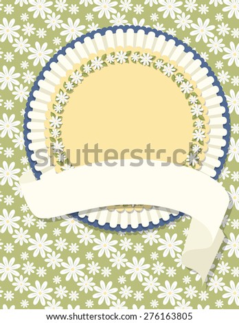 Circle Daisy Wreath Badge and Daisy Background. Circle daisy wreath badge on a green daisy patterned background with a ribbon. Ideal for weddings, invitations, and summer events.