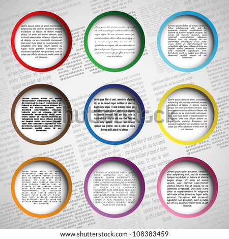 Circle design for your web site, vector illustration, eps10, easy editable, 4 layers. Bonus! Seamless background (newspaper)! - stock vector