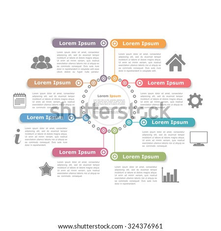Circle diagram design template with eight elements, vector eps10 illustration - stock vector