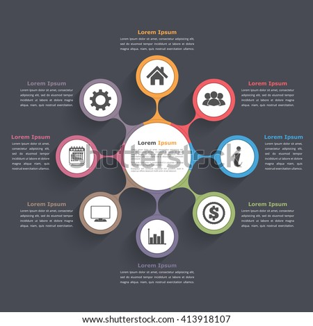 Circle diagram infographics eight elements icons em vetor stock circle diagram infographics with eight elements with icons and text circle flow chart template ccuart Images
