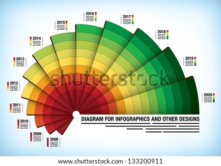 Circle diagram with a field added for each section for presentation purposes - stock vector