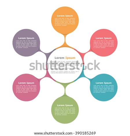 Circle diagram with six elements, infographic template, vector eps10 illustration - stock vector