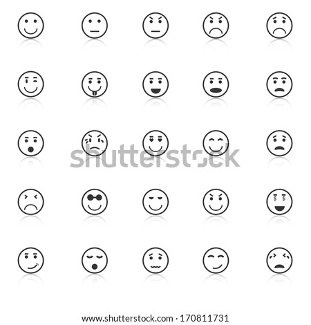 Circle face icons with reflect on white background, stock vector - stock vector