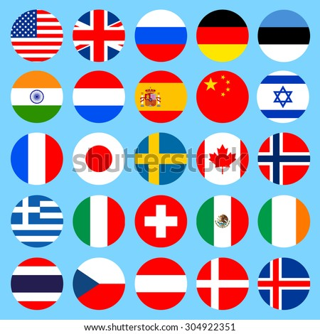 Circle flags icons in flat style. Simple flags of the countries. Vector illustration