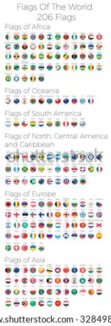 Circle Flags Of The World. 206 Flags. Vector Illustration