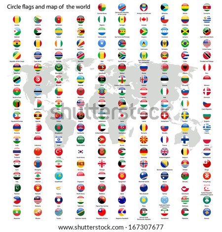 Circle flags vector world world map stock vector 167307677 circle flags vector of the world and world map on white background gumiabroncs Images
