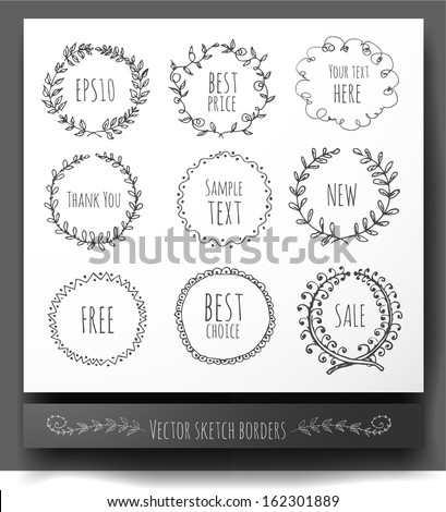 Circle floral borders. Sketch frames, hand-drawn with ink. Vector illustration.  - stock vector
