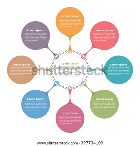 Circle flow diagram template with eight elements, vector eps10 illustration - stock vector