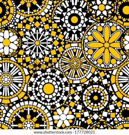 Circle flower mandalas seamless pattern in black white and yellow, vector - stock vector