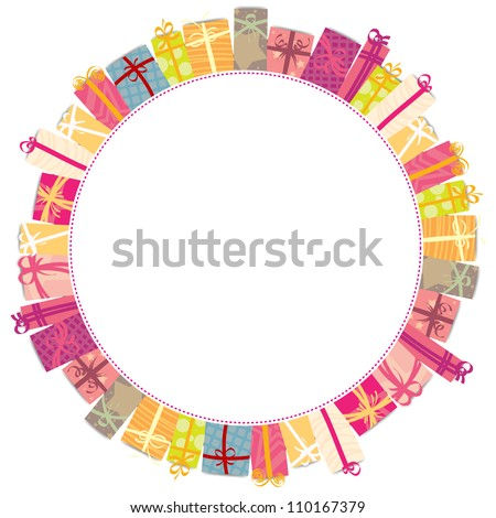 Circle frame of various colorful gift wrappings. - stock vector