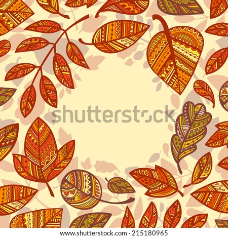 Circle frame with autumn leaves. Vector. - stock vector