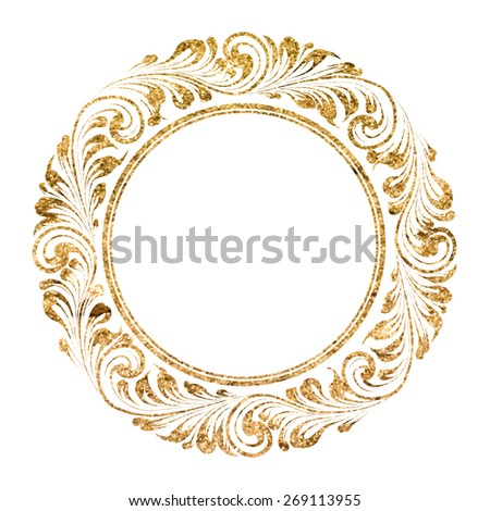 Circle frame with decorative leaves. Vector illustration