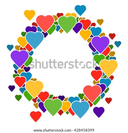 Circle frame with hearts for your text. It is easy to edit. vector illustration.