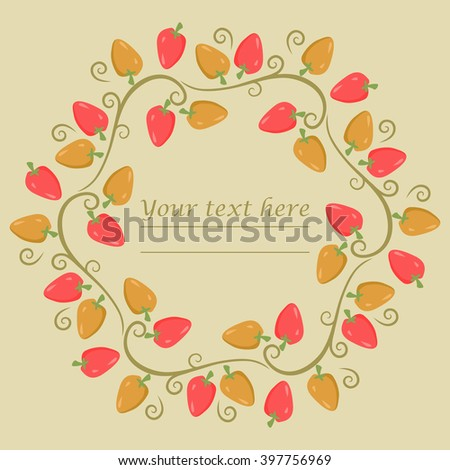 Circle frame with red and orange peppers and more decorative elements. Round frame can be used for cover, greeting card and more creative designs. - stock vector