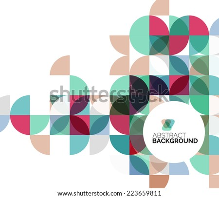 Circle geometric abstract background, colorful business or technology design for web on white with sample text - stock vector