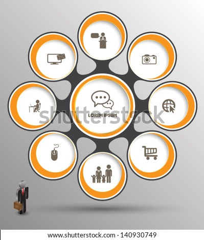 Circle group relation with icons / can use for business concept - stock vector