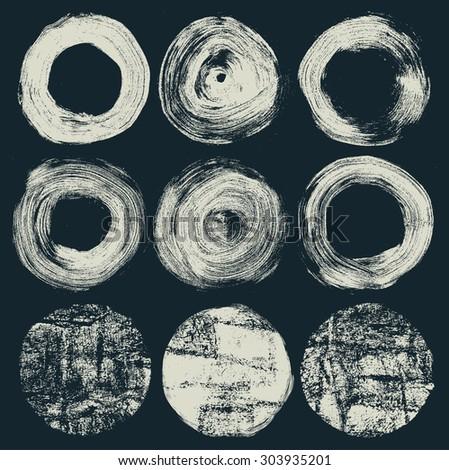 circle grunge halftone textures set. vector illustration - stock vector