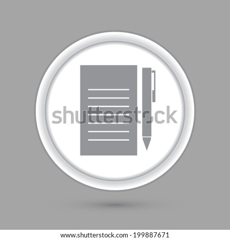 circle icon with a shadow. sheet of paper and a pen - stock vector