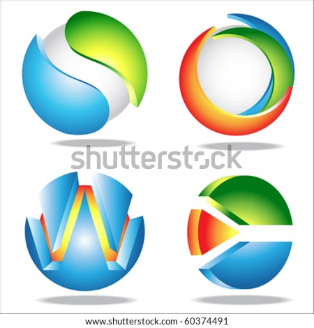 circle icons - stock vector