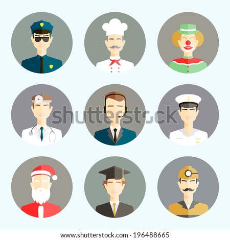 Circle icons set with man of diffrent professions in Flat Style? - stock vector