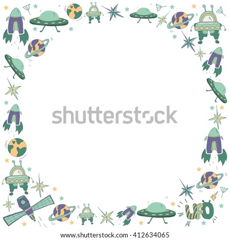Circle kids frame with space hand drawn symbols: UFO, flying saucer, rocket, robot, planets, stars. Pattern for boys - stock vector