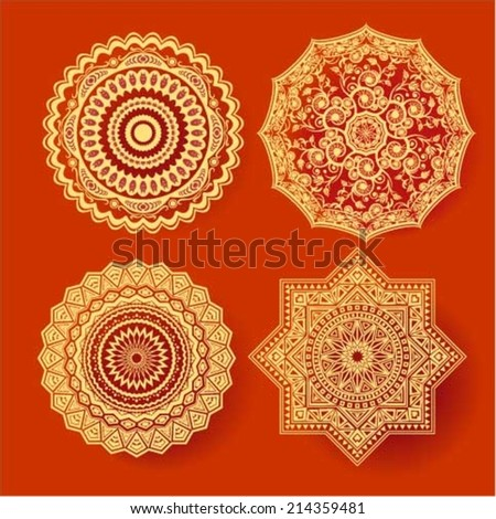 Circle lace ornament, round ornamental geometric doily different patterns, christmas snowflake decoration - stock vector