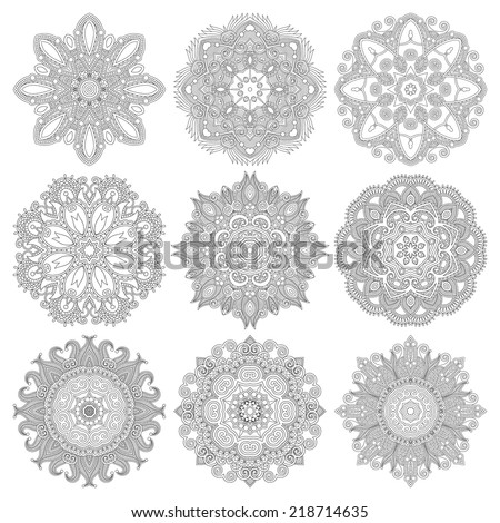 Circle lace ornament, round ornamental geometric doily pattern, black and white collection. Vector illustration - stock vector