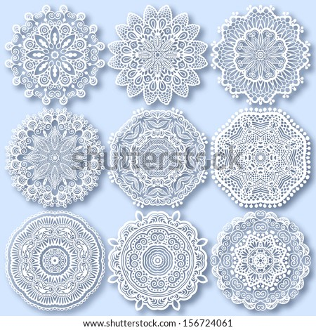Circle lace ornament, round ornamental geometric doily pattern, christmas snowflake decoration - stock vector