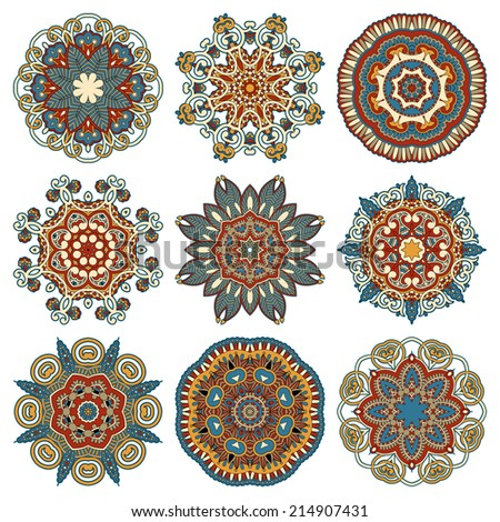 Circle lace ornament, round ornamental geometric doily pattern collection. Vector illustration - stock vector