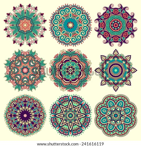 Circle lace ornament, round ornamental geometric doily pattern. Vector illustration - stock vector