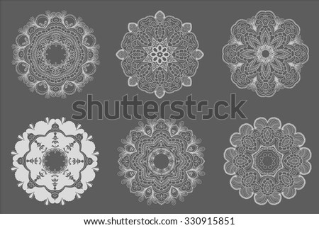 Circle lace ornament, round ornamental geometric hand-draw pattern. EPS10