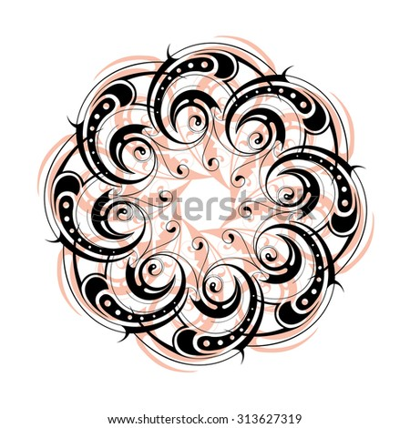 Circle lace ornament with floral elements