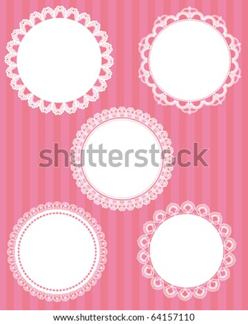 circle lace stripes background - stock vector