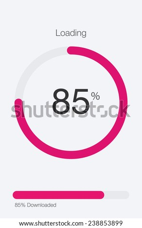 Circle Loading and Progress Bars on White Template 2 of 6 - stock vector