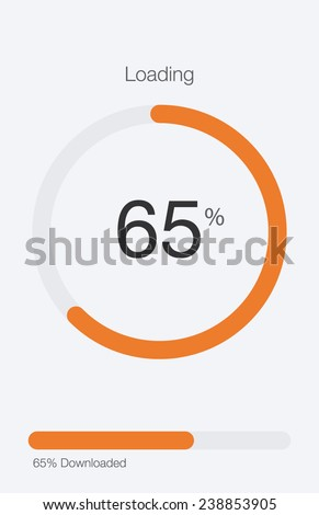 Circle Loading and Progress Bars on White Template 3 of 6 - stock vector
