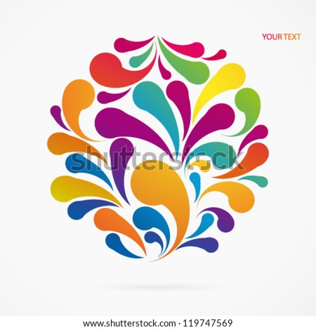 Circle made of colorful arc drops. Decorative background. - stock vector