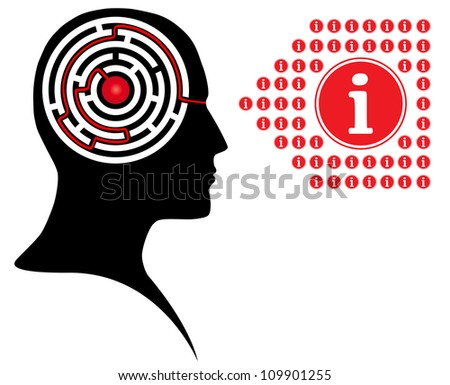 Circle maze puzzle as a brain in a person head - stock vector