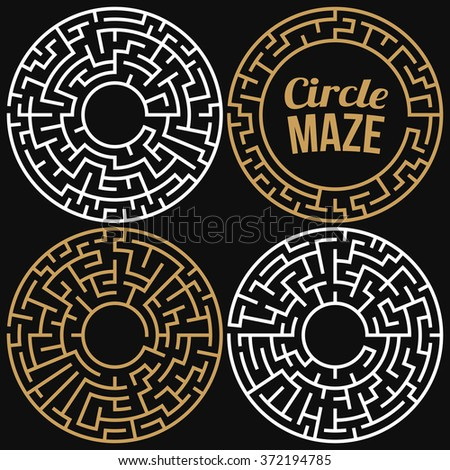 Circle Maze Set. Labyrinth with Entry and Exit. Find the Way Out Concept. Transportation. Logistics Abstract Background Concept. Transportation and Logistics Concept. Vector Illustration. - stock vector