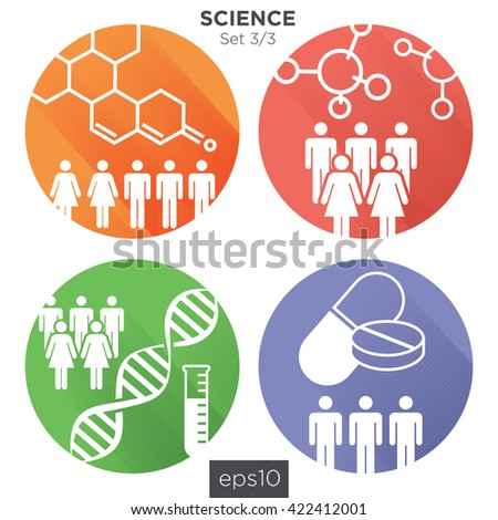 Circle 3/3 Medical Healthcare Icons with People Charting Disease or Scientific Discovery - stock vector