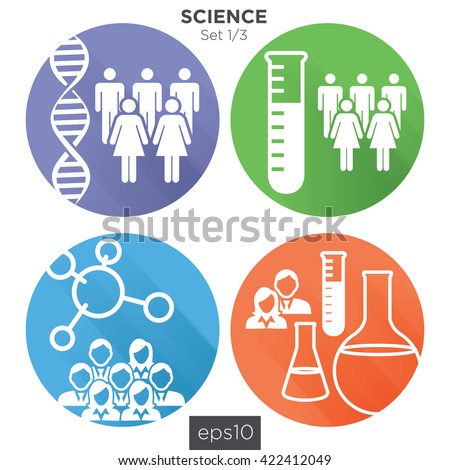 Circle 1/3 Medical Healthcare Icons with People Charting Disease or Scientific Discovery - stock vector