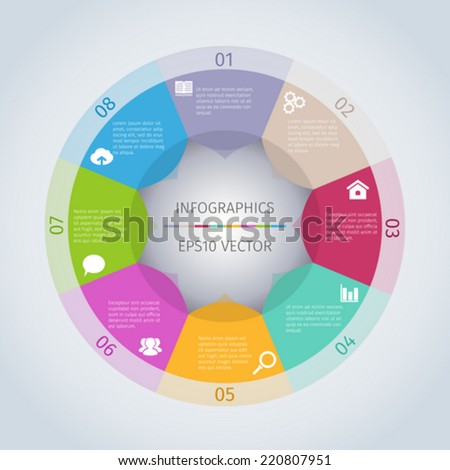 Circle modern infographic template with icons - stock vector