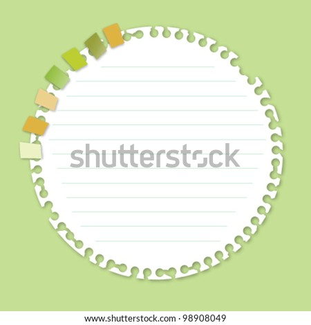 Circle Note Paper with Bookmark - stock vector