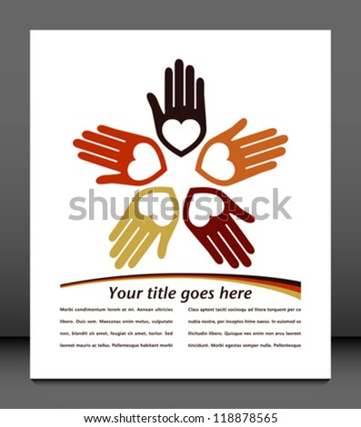 Circle of colorful hands with copy space vector. - stock vector