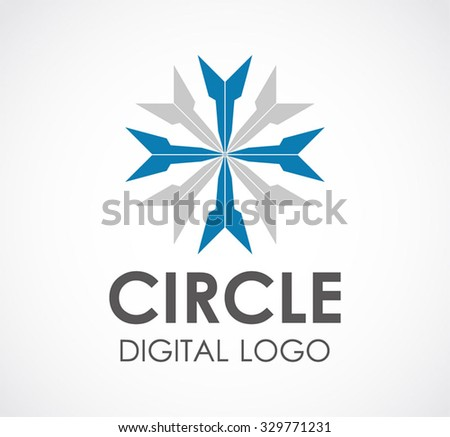 Circle of cursor arrow abstract vector and logo design or template digital future business icon of company identity symbol concept - stock vector