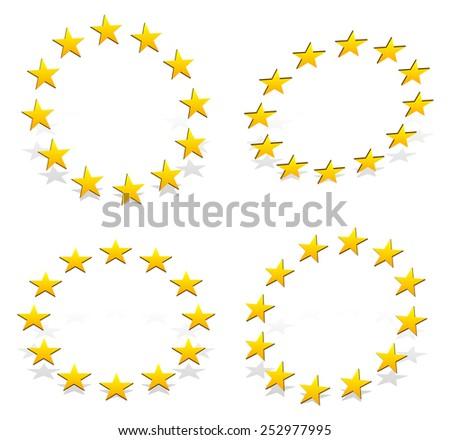 Circle of 12 golden (yellow) stars - stock vector