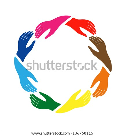 Circle of Hands - stock vector